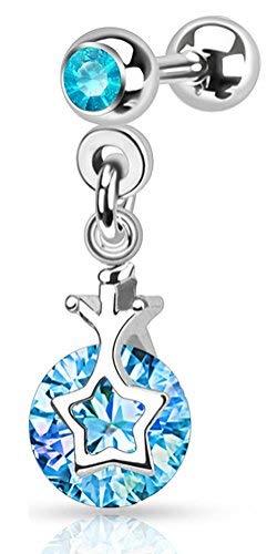 Body Jewellery Shack Upper Ear dangly Charm Earring Cartilage Tragus Helix Earring Piercing Barbell - Pink, Blue, Clear. (Aqua)