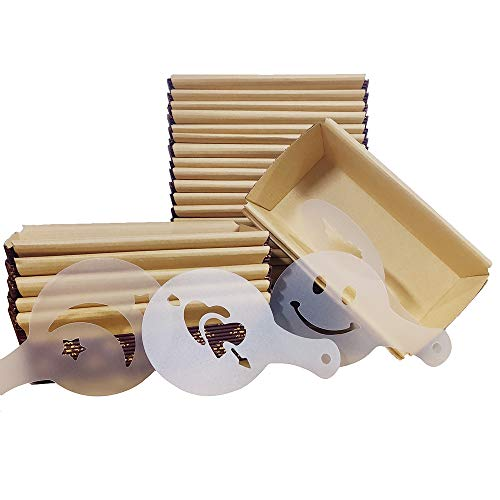 "Kraft Paper Loaf Pan Disposable paper baking cups for Baking 25-pack, All Natural, Microwave Oven Freezer Safe with 4 Stencils For Baked Goods (6.9"" x 3.7""x 2')"