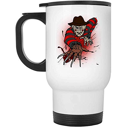Horror-Albtraum auf El-m Straße Fred-dy Krüger glückliches Halloween-lustige Geschenk-weiße rostfreie Reise-Tasse Kaffeetasse Teetasse