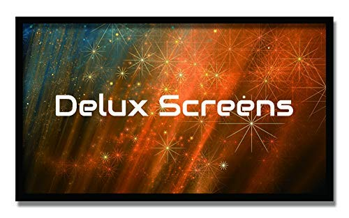 DELUX SCREENS (US Business)120 inch 4K/8K Ultra HDR Projector Screen Active 3D Ready - 6 Piece Fixed Frame Home Theater Movie Projection Screen SILVER HIGH CONTRAST Velvet Border (120', 16:9, Silver)
