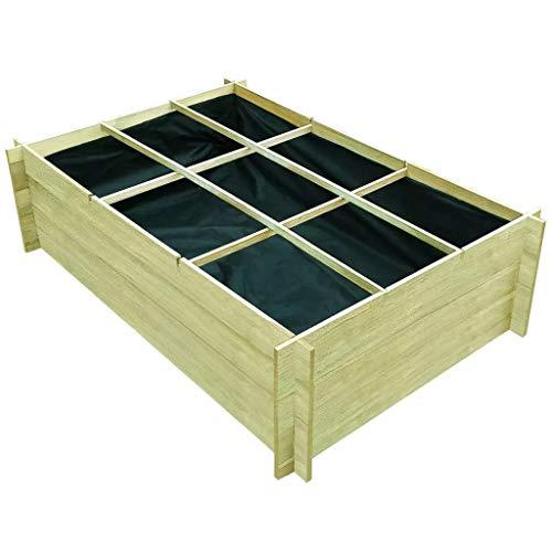 GOTOTOP - Jardinera para plantas de jardín, cama vegetal de madera de pino impregnada, en 9 secciones separadas, para cultivar hortalizas y flores, 150 x 100 x 40 cm