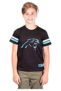 NFL Carolina Panthers Boys Mesh Vintage Jersey Tee Shirt, Black, 8