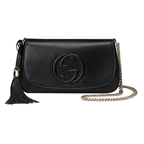 Gucci Soho Leather Flap Shoulder Bag Black Gold Tassel New Authentic