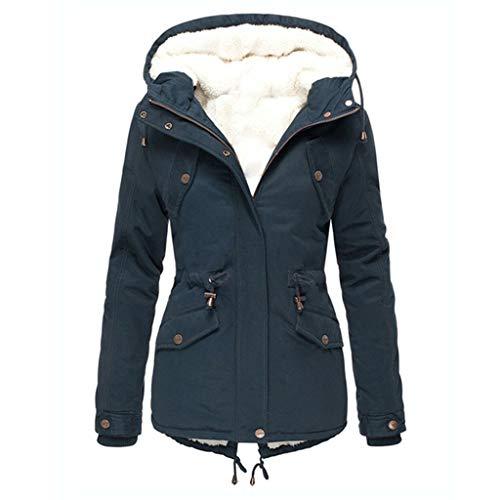 IMJONO Frauen Winter Plus Größe Einfarbig Daunenmantel Langarm Reißverschlusstasche Mantel Hoodies Oberbekleidung Mantel Mantel