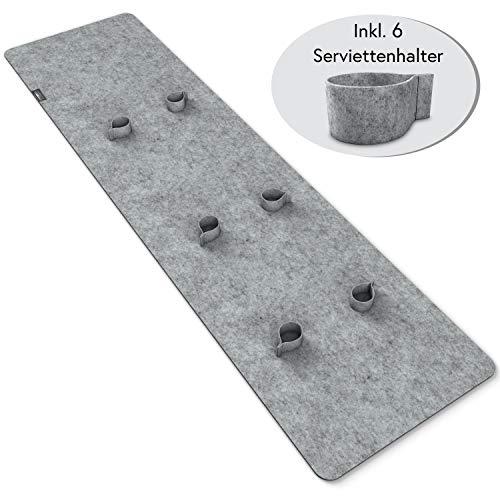 morrom Filz Tischläufer Set – Filzläufer 150x40cm + 6 Serviettenringe 4cm, waschbar - 7-teilig (Hellgrau)