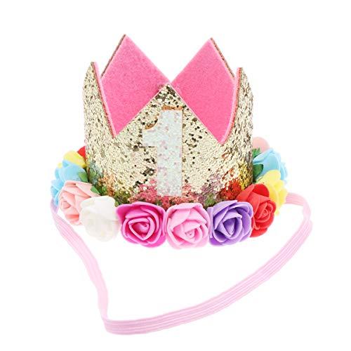 Lurrose Baby verjaardag kroon hoofdband glitter kroon party hoed elastische haarband voor meisjes peuters foto rekwisieten babyparty verjaardagsfeest gastgeschenken Größe 1 Afbeelding 3.