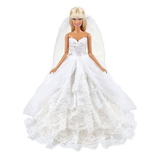 VILLAVIVI Hochzeitskleidung Abendkleid Kleidung mit Brautschleier für 11,5 Zoll Mädchen Puppen