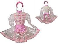 ロック めめしい メイド 透明の PVC ピンク レースワンピース コスプレ衣装 風