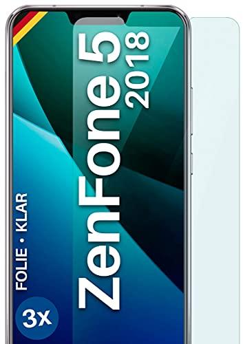 moex Klare Schutzfolie kompatibel mit Asus Zenfone 5 (2018) - Bildschirmfolie kristallklar, HD Bildschirmschutz, dünne Kratzfeste Folie, 3X Stück