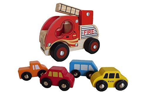 BINO Mertens Holzauto Set Feuerwehr
