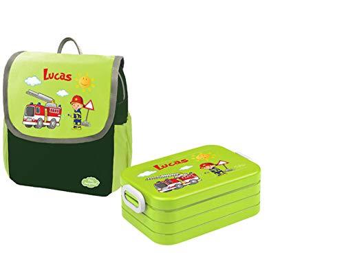 Mein Zwergenland Set 1 Kindergartenrucksack und Brotdose Happy Knirps Next mit Name Feuerwehr, 2-teilig, Grün