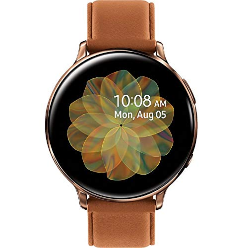 Samsung Original Galaxy Watch Active; auto Workout Tracking,Sleep Tracking Analysis; Stainless Steel CASE and Leather Band (International Model) (Gold, 40mm)