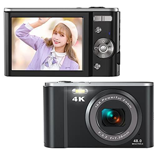 Rosdeca デジタルカメラ デジカメ コンパクト 4K カメラ 子供用 4800万画素 16倍ズーム 『32GBカード付き』 連写機能 軽量 携帯便利 2.8インチIPS画面 ミニカメラ キッズ 学生 撮影初心者に適用