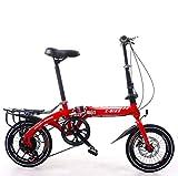 LQ&XL Bicicleta Plegable para Adultos Rueda De 16 Pulgadas Bici Mujer Retro Folding City Bike Velocidad única,Manillar Y Sillin Confort Ajustables,Capacidad 120kg / Red / 14in