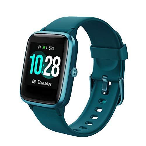 Smart Watch Fitness Tracker Sport Bluetooth Activity Tracker pantalla táctil 5ATM impermeable control de música podómetro contador con notificación de llamadas para mujeres y hombres para iOS Android