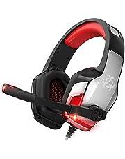 ONIKUMA Auriculares Xbox, Auriculares para Juegos para PS4, Xbox One, Nintendo Switch, PC, Mac, Laptop, Cascos para Colocar Sobre las Orejas con Micrófono, Sonido Envolvente de Graves, Orejeras Suaves