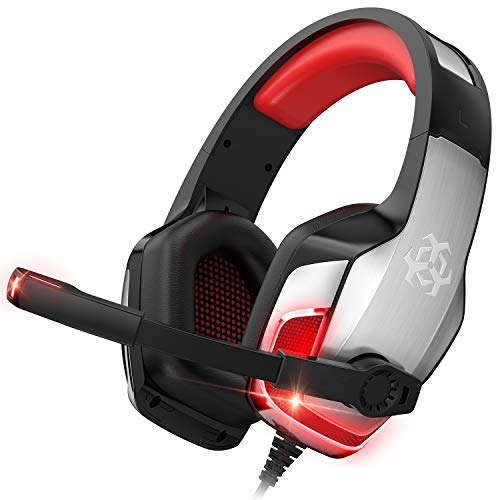 Xbox Headset, PS4 Headset, Gaming Headset for PS4, Xbox One, PC, Mac, Laptop, Over Ear Gaming Headphones with Noise Canceling Mic, LED Light, Bass Surround, Soft Memory Earmuffs, Red