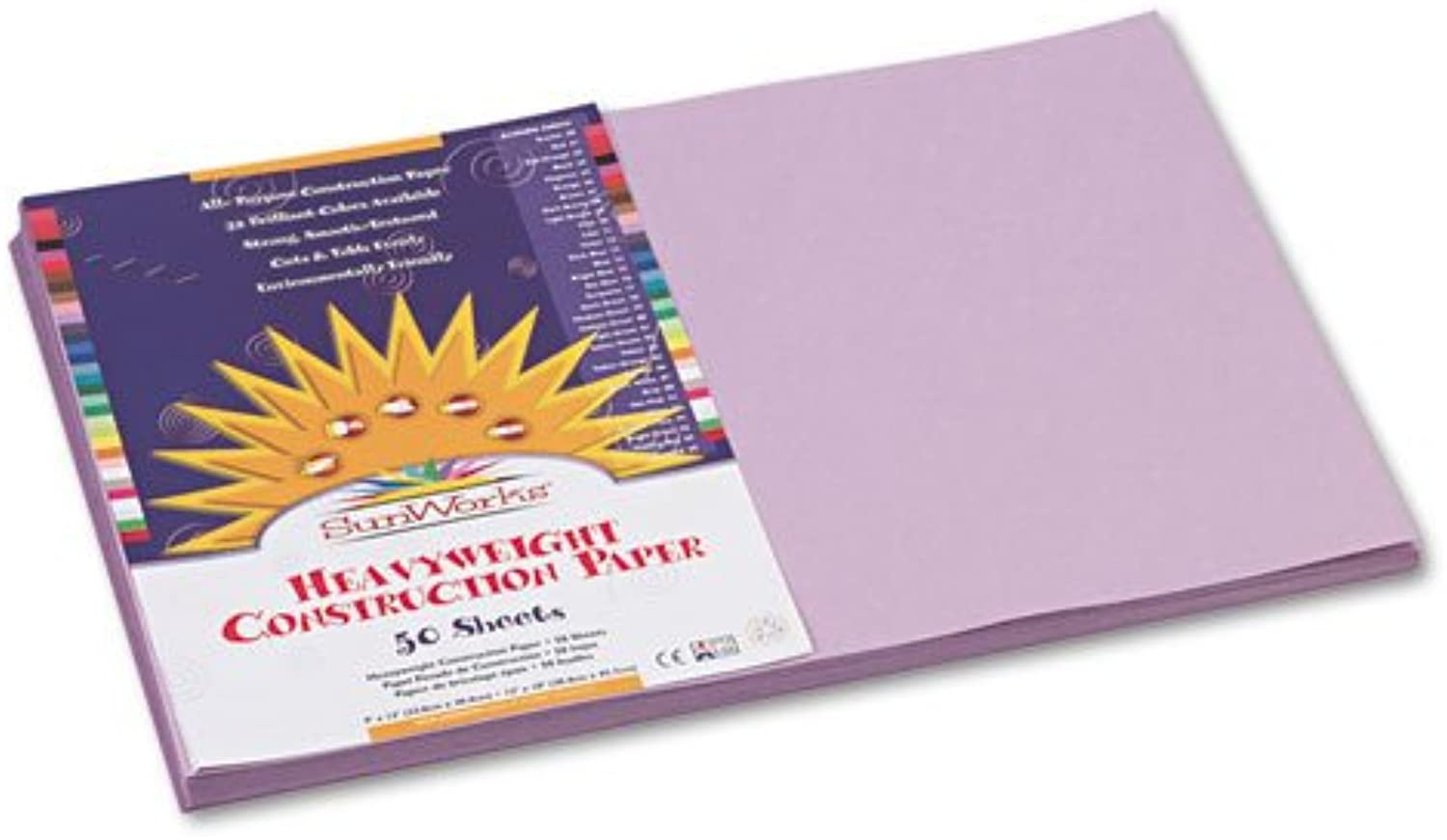 Pacon SunWorks 7107 Construction Paper, 58 lbs., 12 x 18, Lilac, 50 Sheets Pack (PAC7107) by Sunworks B01M3YUBYF  | Angenehmes Aussehen