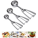 Cookie Scoop Set, Tuilful Ice Cream Scoops Set of 3 with Trigger, 18/8 Stainless Steel Cookie Scoops for Baking, Include Large-Medium-Small Scoops for Cookie, Ice Cream, Cupcake, Muffin, Meatball