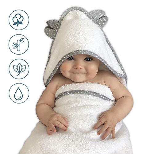 VABY – Babyhandtuch mit Kapuze, OEKO-TEX®, aus Baumwolle und Bambus, weiß/grau, Kinderhandtuch extra groß, Frottee Kapuzenhandtuch mit Ohren, Baby Handtuch für Neugeborene, Junge und Mädchen (Weiß)