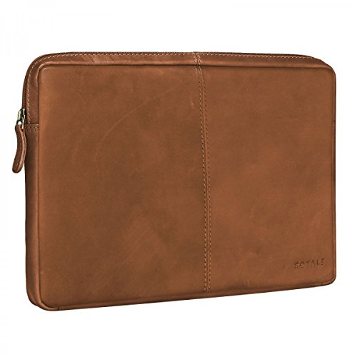 ROYALZ Tasche für Lenovo Yoga A12 Ledertasche (12,2 Zoll) Lederhülle Hülle Schutztasche Schutzhülle Cover Sleeve Mappe Folio Retro Vintage Leder, Farbe:Hellbraun Matt