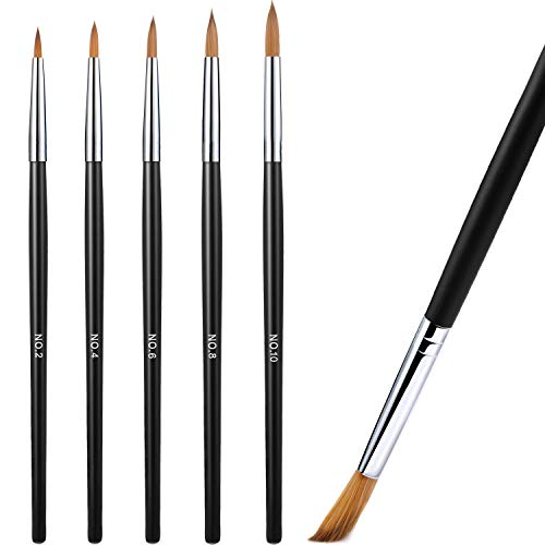 5 Pieces Acrylic Nail Brush with Round Wood Handle 3D Painting Drawing Brush UV Gel Carving Pen Brush for Acrylic Liquid Styling Nail Art Decoration (2-10, Black)