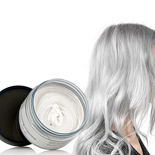 Cire Couleur Cheveux Teinture Instantanée Cheveux Boue Cheveux Jetable Crème de Coiffure Pâte à Modeler Temporaire Pommade Unisexe Blanc