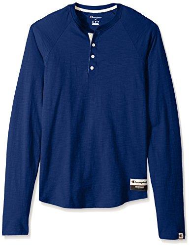 Champion Men's Authentic Originals Long Sleeve Henley, Athletic Royal, Large
