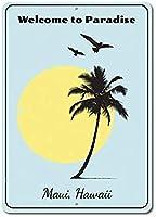 Welcome To Paradise 注意看板メタル安全標識注意マー表示パネル金属板のブリキ看板情報サイントイレ公共場所駐車ペット誕生日新年クリスマスパーティーギフト