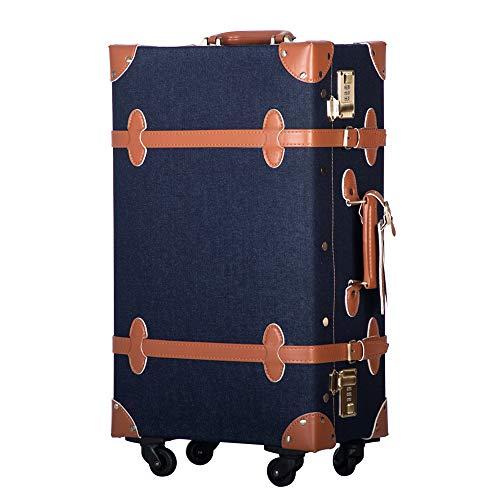 TANOBI トランクケース スーツケース キャリーバッグ SSサイズ機内持ち込み可 復古主義 おしゃれ 可愛い 13色4サイズ (デニム, Mサイズ(3−5泊))