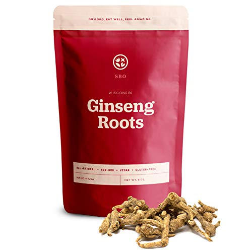 SB Organics Ginseng - Wisconsin Farmed Ginseng Root - Vegan, Non-GMO, Gluten Free Herb - 8 oz.