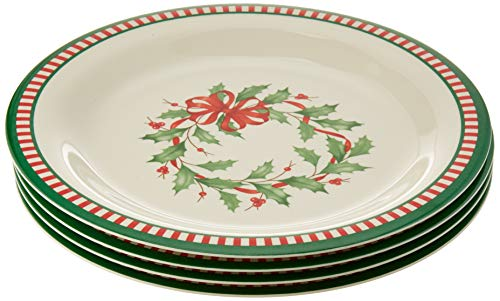 Lenox Holiday Melamine 4-Piece Striped Dinner Plate Set