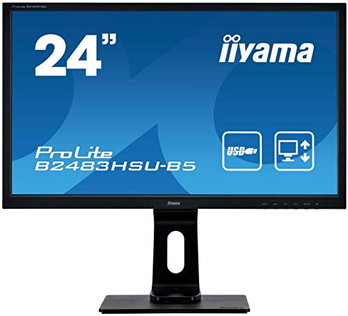 iiyama ProLite B2483HSU-B5 - Monitor LED Full HD (61 cm/24 Zoll, VGA, HDMI, DisplayPort, USB 2.0, altura regulable, pivot), color negro