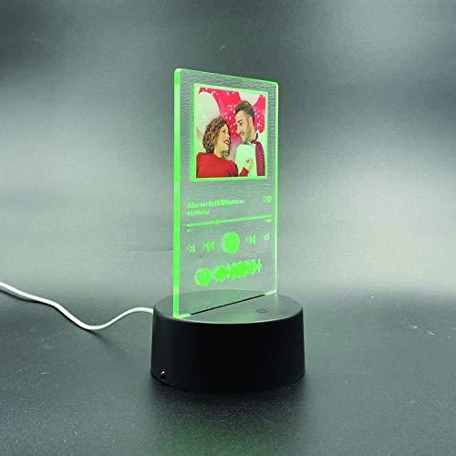 Lampada Spotify personalizzata, Glass Art, luce notturna personalizzata con la tua foto / nome del cantante preferito, amore, eventi, dedica personalizzata
