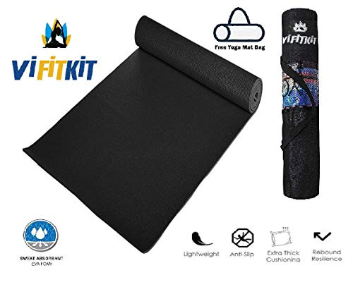 VIFITKIT Yoga Mat with Free Yoga mat Bag Anti Skid Yoga mat for Gym Workout and Flooring Exercise Long Size Yoga Mat for Men Women, Black 4MM