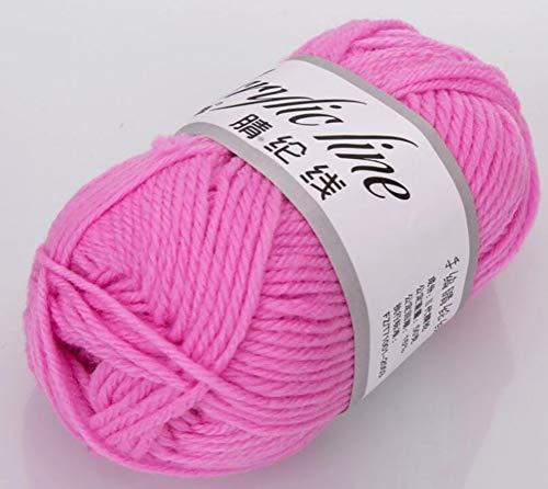 Liliya& Kaschmir-Pompon-Garn aus Acrylwolle Wollstrickwolle 50 g Doppelstrickgarn-Ballset in verschiedenen Farben Acryl-Weichgarn,Pink