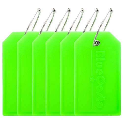 BlueCosto 6x Luggage Tags Suitcase Tag Bag Identifier ID Labels Office Travel Label - Green