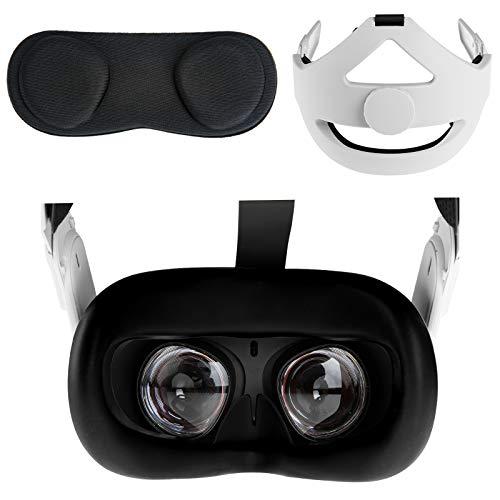 NEWZEROL Coussin De Tête + Protège-Objectif + Couvre-Visage en Silicone Compatible pour Oculus Quest 2, Réglable pour Réduire la Pression de la Tête et Anti-poussière Anti-Transpiration Accessoires