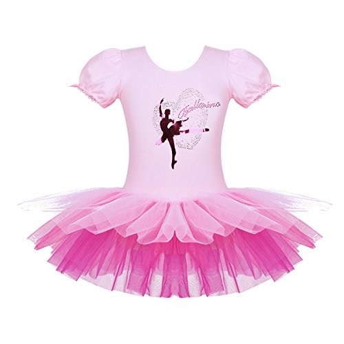 TiaoBug Kinder Ballettkleidung - 3 Modells - Mädchen Ballettkleid Kurzarm Ballettanzug mit Ballett Tutu Tütü und Innenslip Shorts Kostüm Outfit Gr.92-128 Rosa mit Tanzerin 122-128