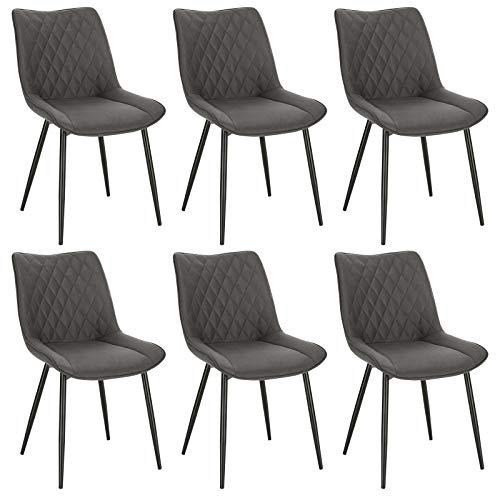 WOLTU 6X Sillas de Comedor Dining Chairs Nordicas Estilo Vintage Juego de 6 Sillas de Cocina Sillas Tapizadas en Tela Silla Estructura de Metal Sillas Salon Gris Oscuro BH248dgr-6