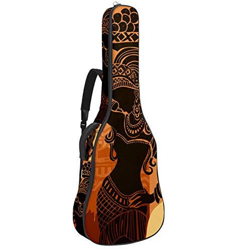 Bolsa para bajo eléctrico bolsa de concierto mochila acolchada funda de guitarra suave impermeable y a prueba de golpes Mujer africana 42.9x16.9x4.7 in