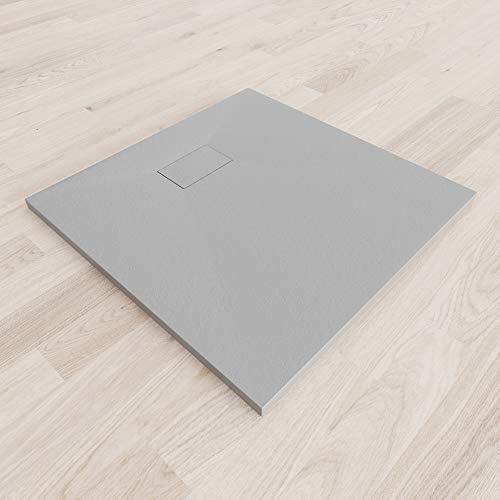 Moments of Glass SMC Duschwanne 90x90 cm Rechteckig Duschtasse mit Anti-Rutsch Flach mit Steinoptik – Grau