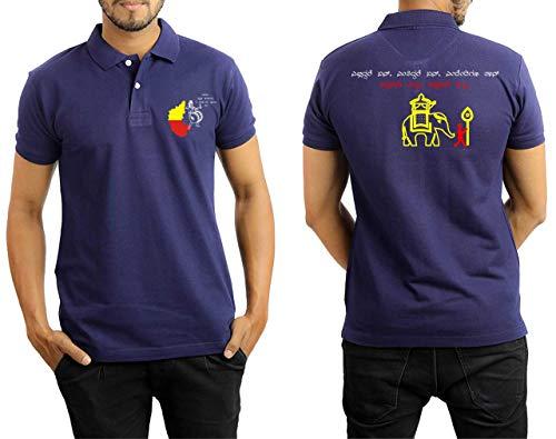 Kannada Printed T-Shirt Navy Blue (Cotton, M)