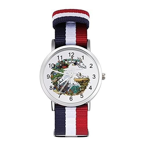 Spirited Away Princess Mononoke My Neighbor TotoroBraided Band Reloj con escala de moda ajustable para negocios, banda de impresión a color, adecuado tanto para hombres como para mujeres