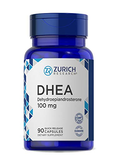 DHEA 100mg   90 Quick Release Capsules   Non-GMO & Gluten Free Supplement   by Zurich Research