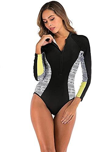 Samanthaa Traje de baño de manga larga para mujer, traje de surf de una sola pieza, con cremallera, traje de baño deportivo profesional, natación, buceo, ropa deportiva (color: amarillo, tamaño: S)
