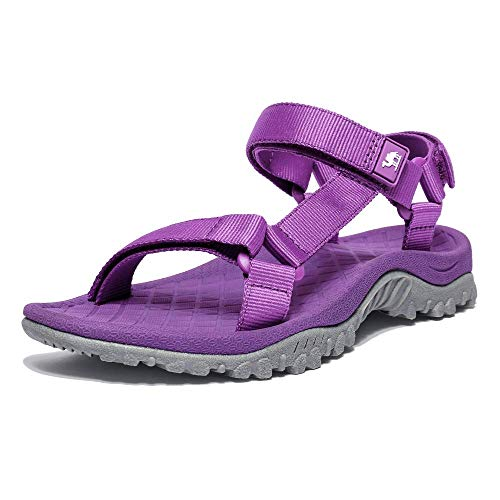 CAMEL CROWN Hiking Sport Sandals for Women Anti-skidding Water Sandals Comfortable Athletic Sandals for Outdoor Wading Beach Purpke 8.5