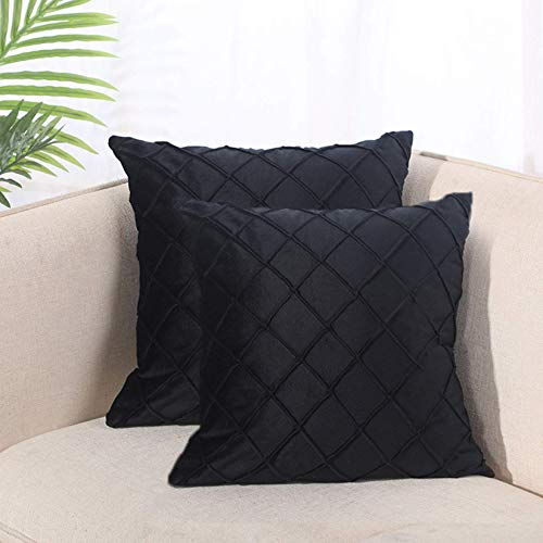 Liuzhou 2 Pieces Chenille Throw Pillow Case Decorative Square Pillowcases for Couch Living Room Sofa Bed with Invisible Zipper 45cm x 45cm 18x18 Inches (#2)