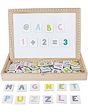"""JaBaDaBaDo Juego """"Pizarra magnética"""" puzzle educativo para niños pequeños, pizarra de aprendizaje, letras magnéticas, números magnéticos para aprender imanes"""