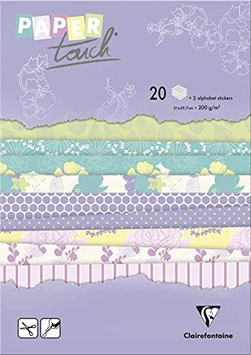 Clairefontaine 95201C Bloc de 20 Feuilles à Motifs en Papier Cartonné 200g + Stickers Alphabet + Étiquettes à découper - Format A4 (21x29,7cm) – Papier Scrapbooking Loisirs Créatifs - Jardin d'été